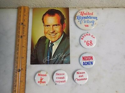 Vtg President Richard Nixon Agnew 1968 Campaign Photo and Button Collection