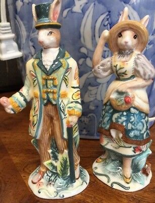 Fitz and Floyd set of salt and pepper Dapper Rabbit new in box