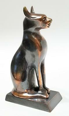 Vintage Bronze Egyptian Cat Figurine Statue  Paperweight  5 3/4""