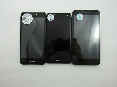 Lot of 3 Assorted BLU Cellphones Unknown Carrier Check IMEI Grade B 5-1118