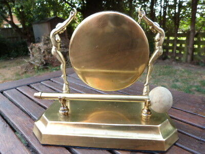 Lovely Vintage Art Deco Brass Table Top Dinner Gong With Striker.