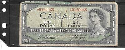 Canada #74 1954 (61) Good Circ Dollar Old Banknote Paper Money Currency  Note
