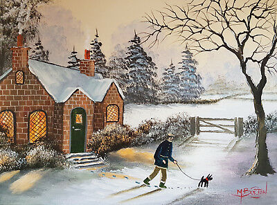 Mal.burton Original Art Oil Painting    Its A Cold Start Boy     Walking Dog