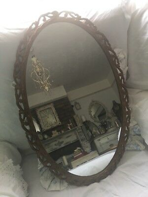 Ornate Vintage Gold Gilt Oval Wall Mirror With Bevelled Edge
