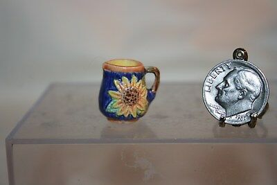 Miniature Dollhouse Valerie Casson France Majolica Pitcher w Sunflower 1:12 NR