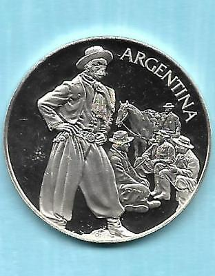 """1975 United Nations Silver PROOF """"ARGENTINA"""" 100TH Medal"""