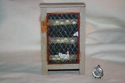Miniature Dollhouse Primitive Country Cupboard Handpainted Chicken Coop 1:12 NR