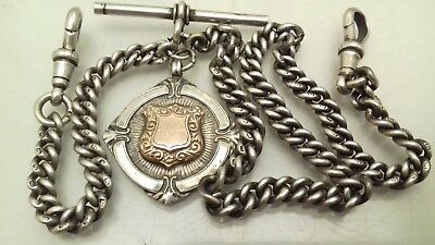 Antique Sterling Silver Double Albert Fob Watch Chain Medal 1924