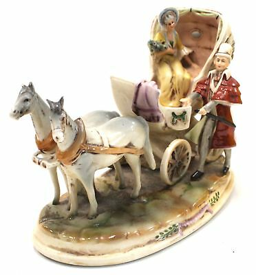 "Vintage HAND PAINTED Porcelain ""Horse And Carriage"" Ornament 22cm  - A29"