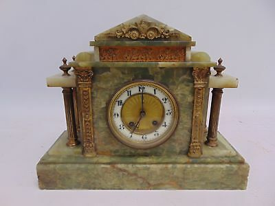 Antique BHA Britannia Movement Green Marble Mantel Clock - G26