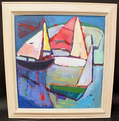 "IHMOF-CARDINAL ""Boats"" Large Original Abstract Oil Painting In Frame - G31"