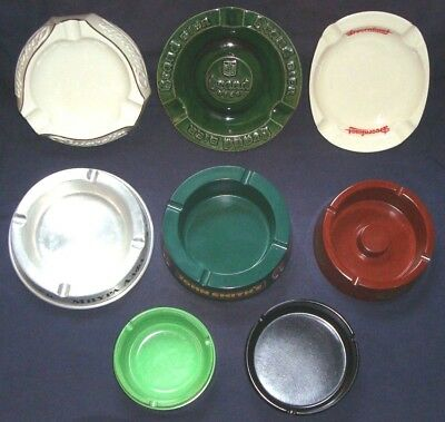 Lot of 8 vintage ashtrays advertising distilleries and beers
