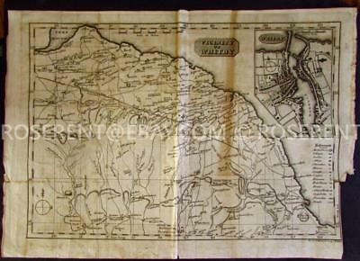 c1800s Vicinity of Whitby  - Yorkshire map  by Barber and Whitwell 28 by 39cm