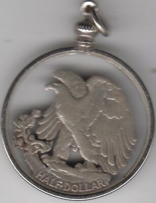 Coin USA silver half dollar cut out and made into pendant, lovely