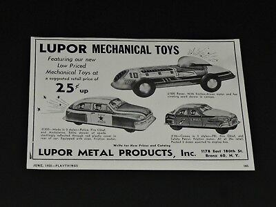 Vtg 1953 LUPOR Tin Mechanical Toys POLICE FIRE RACE CAR Original Print Ad
