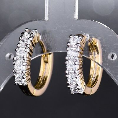 Women Unique Wedding Gold Platinum Filled Hoop Earrings Sapphire Crystal Jewelry