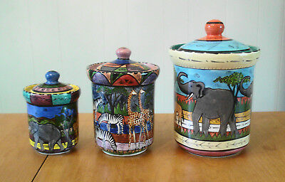 Penzo Zimbabwe Pottery 3-pc Canister Set African Animals Artist Signed