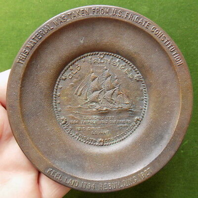 Original Uss Constitution Old Ironsides Brass Pin Tray Relic Made From The Ship