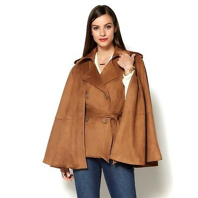 IMAN Runway Chic Luxurious Faux Suede Vest Removable Cape TOBACCO S NEW 565-916