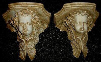 Antique Winged Angel Cherub Face Sconce Set of 2 Home Wall Decor Reproduction