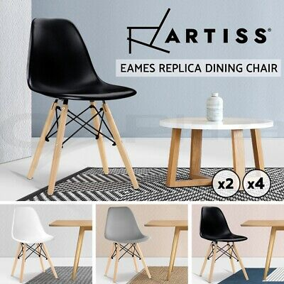 2/4 x Retro Replica Eames Dining Chairs DSW Cafe Kitchen Beech Wood White Black