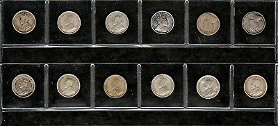 Canada Lot Of Twelve Different Dated Silver Five Cent Coins (1902-1920)
