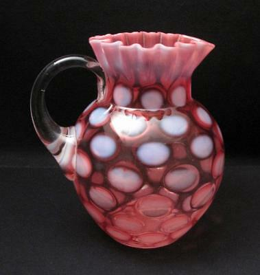 Antique Opalescent Coin Spot Cranberry Pink Glass Pitcher Jug Victorian