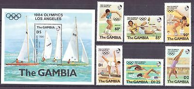 Gambia MiNr. 500-06 + Block 8 postfrisch/ MNH Olympia 1984 Los Angeles (Oly952