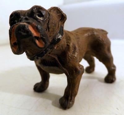 "Antique Cast Metal 3"" Long English Bull Dog Orig Paint Marked Germany c1910s"