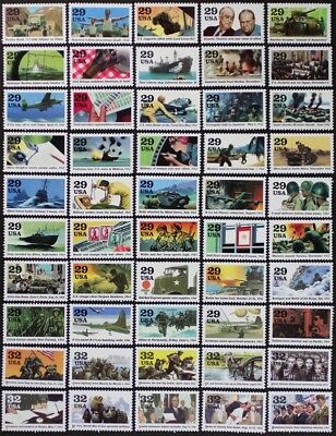 US 1991-1995 COMPLETE set of Singles, World War II #2559,2697,2765,2838,2981 MNH
