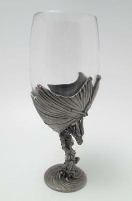 Myths & Legends Dragon Wine Goblet By Veronese Pewter & Glass Gothic Fantasy