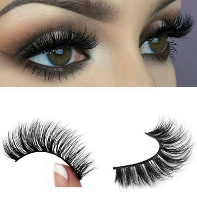 Top 3D 100% Mink Soft Long Natural Thick Makeup Eye Lashes False Eyelashes Black