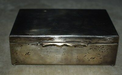 Vintage 900/1000 Coin Silver Cedar Lined Cigarette Box Case - Heavy Weight