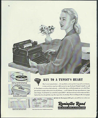 Key to a Typist's Heart Remington Rand Typewriter ad 1947
