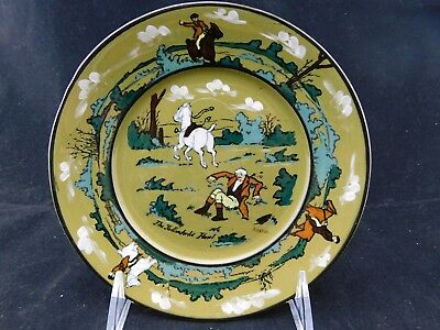 "Buffalo Pottery Deldare Ware Fallowfield Hunt 6-1/4"" Bread Plate1908"