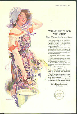 What surprised the chef - real cream in Heinz Cream Soups ad 1923 girl bonnet