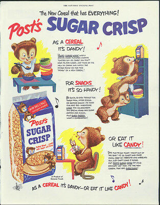 Has everything! Post's Sugar Crisp Dandy Handy Candy Bears ad 1950