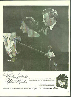 Wanda Landowska & Yehudi Menuhin for RCA Victor Records ad 1946