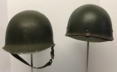 Original WWII Fixed Bale Front Seam M1 Helmet-International Molded Plastic Liner
