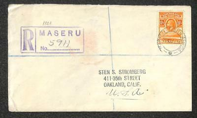 Basutoland Scott #7 King George V Stamp Registered Cover To Usa 1938
