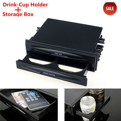 Universal Car Vehicle Double Din Radio Pocket Drink Cup Holder Stand Storage Box