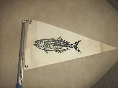 Vintage Boat Flag PENNANT from TAYLORMADE Canvas BURGEE FLAG  with FISH Design