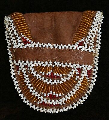 """Excellent Sinew Sewn 2-Pocket Beaded Medicine Pouch 3.5"""" x 3.5"""""""