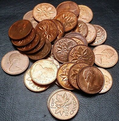 Lot of 34x Canada 1974 Small Cent Penny Copper Coins - Great Condition