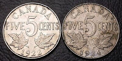 1922 & 1924 Canada 5 Cents Nickel Coins - Great Condition