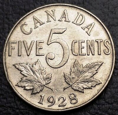 1928 Canada 5 Cents Nickel Coin ***EF Condition*** Free Combined Shipping