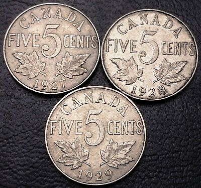 Lot of 3x Canada 5 Cents Nickel Coins ***Dates: 1927 to 1929*** Great Condition