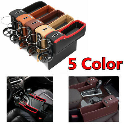 Car Seat Driver Side PU Storage Box Catcher Gap Filler Coin Collector Cup Holder