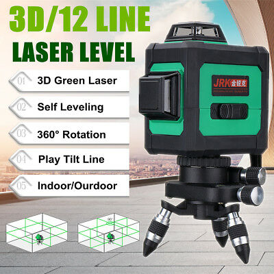 3D Green Laser Level Self Leveling 360° Rotary Cross Measure 12 Lines 120 Times