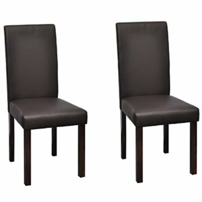 vidaXL 2x Dining Chair Brown Artificial Leather Wood Kitchen Furniture Seat